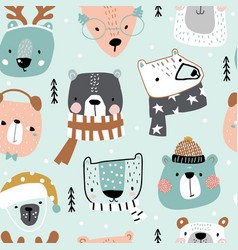 Seamless childish pattern with cute holiday bear vector
