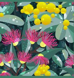 Seamless pattern bloom eucalyptus gum tree vector