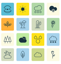 Set of 16 world icons includes water drops cloud vector