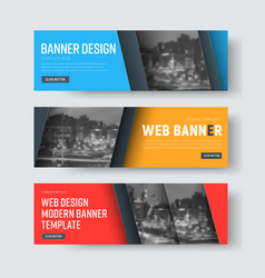 set of colored banners with diagonal place for vector image