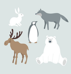 Set of wild winter animals and bird cute polar vector