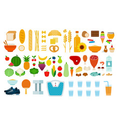 set types food icons flat vector image