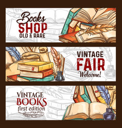 Sketch banners vintage books shop fair vector