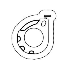 Sticker monochrome with tape measure vector