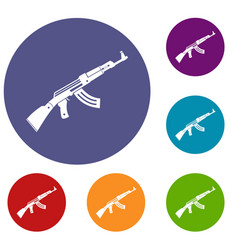 submachine gun icons set vector image