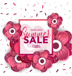 Summer sale banner with flowers vector
