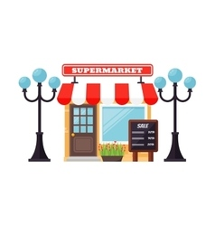 Supermarket shop facade vector