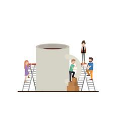 Teamwork mini people doing coffee cup vector