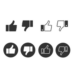 thumbs up and thumbs down icon set like and vector image