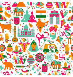 Traditional symbols india seamless pattern on vector