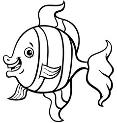 tropical fish cartoon coloring page vector image