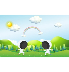 Two kids fencing vector