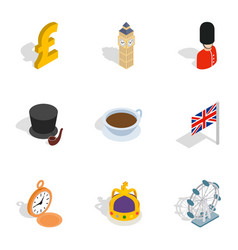 United kingdom icons isometric 3d style vector