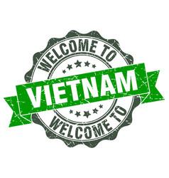 vietnam round ribbon seal vector image