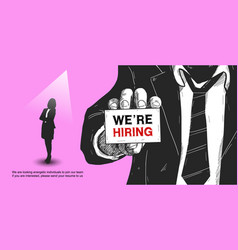 We are hiring poster concept design man show card vector