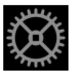 white halftone clock gear icon vector image