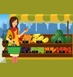 woman shopping in an outdoor farmers market vector image