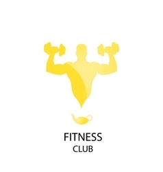 Yellow fitness club icon vector