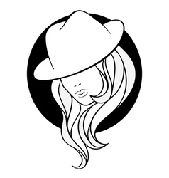 Young girl in a vintage gangster hat vector