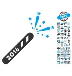 2016 Firecracker Flat Icon With Bonus vector image