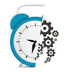Alarm Clock with Cogs - Gears vector image