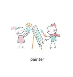 Artist painter vector image