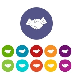 Business handshake set icons vector image