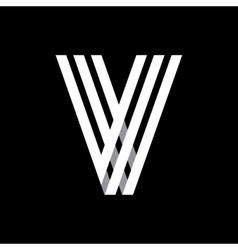 Capital letter V Made of three white stripes vector image
