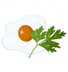 fried egg with parsley vector image vector image