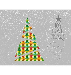 Merry Christmas colorful tree shape vector image vector image