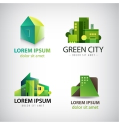 set of green building icons logos Eco vector image vector image