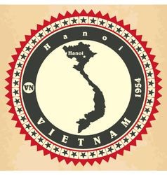 Vintage label-sticker cards of Vietnam vector image vector image