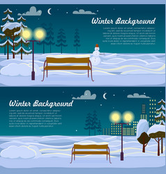 winter background set of two pictures benches vector image