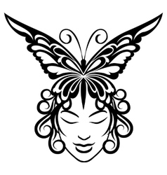 Woman face with butterfly hairdress vector image