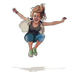 Cartoon girl jumping with hands wide apart vector