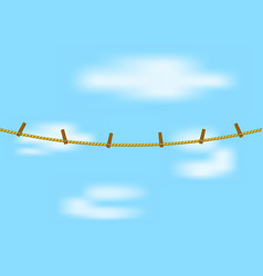 clothespins on rope in brown design vector image vector image