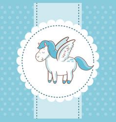 cute unicorn wings animal magic card dots vector image