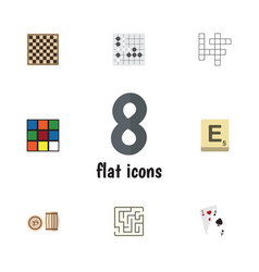 Flat icon play set of guess gomoku labyrinth and vector