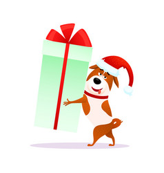 funny cartoon dog with christmas gift flat puppy vector image vector image