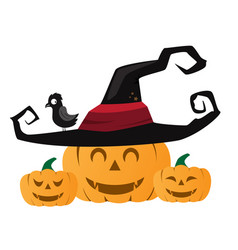 halloween pumpkin with black witches hat vector image