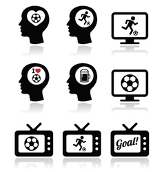 Man loving football or soccer icons set vector image vector image