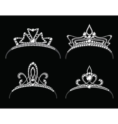 Tiaras and crowns with diamond set vector image vector image