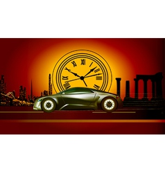 time machine runs to the sunset in the backdro vector image