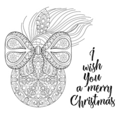 Vintage Christmas ball with ribbon fir tree vector image