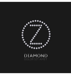 Z letter with diamonds vector image