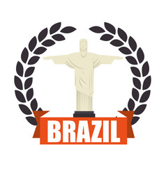 christ corcovado brazil icon vector image