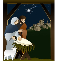 Christmas nativity scene vector image vector image