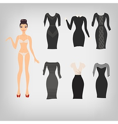 cute simple dress up paper doll with an assortment vector image