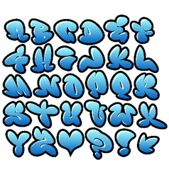 graffiti bubble blue fonts with gloss and outline vector image