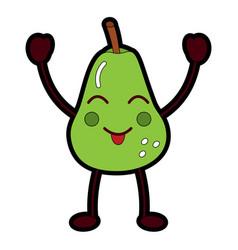kawaii fruit pear character cartoon image vector image